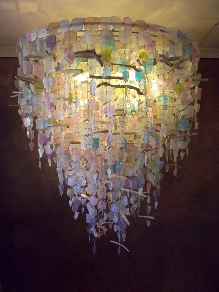 glass chandelier, unique glass chandelier, recycled glass chandelier