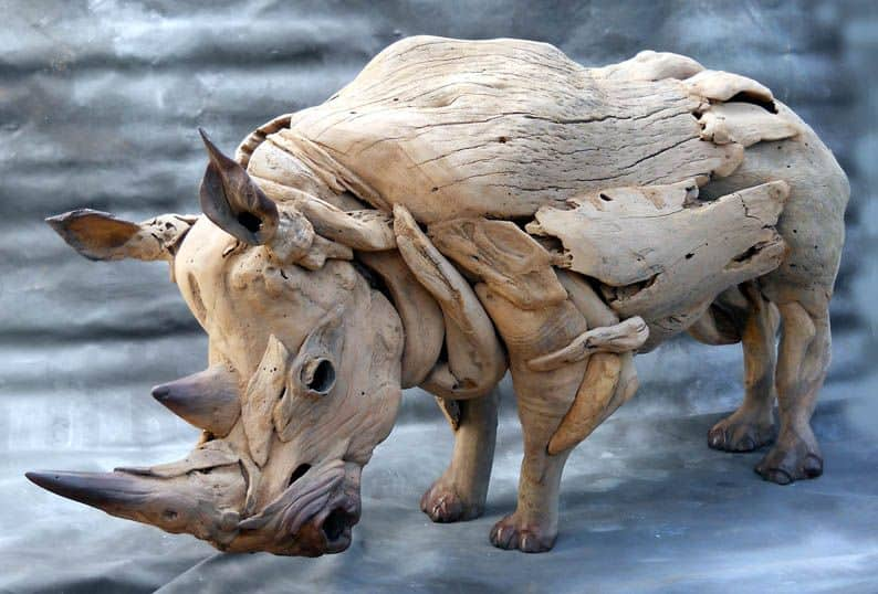 African Lighting | Phases Africa | African Decor & Furniture, Rhino Sculpture│Driftwood Art
