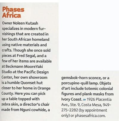 Los Angeles Magazine | Phases Africa | African Decor & Furniture