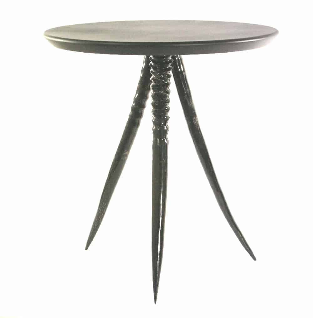 African Furniture│round wood side table with Gemsbok Legs