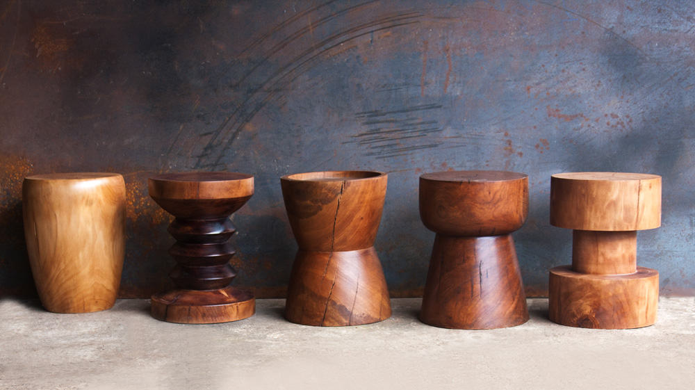 African-wood-turned-side-tables-stools