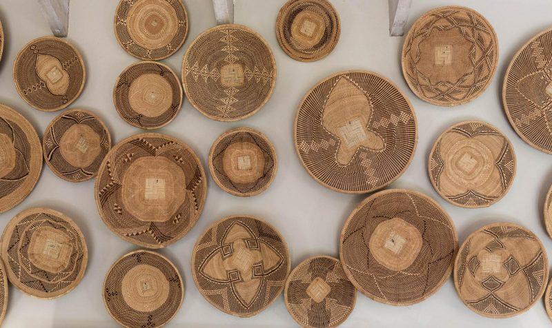 African Home Decor grass baskets, wall art