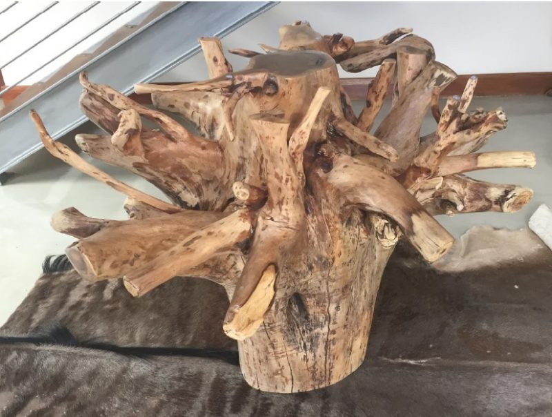 Tree Root Knobthron Entrance Table Base - Wax finish