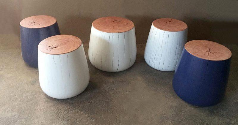 Wood turned side tables