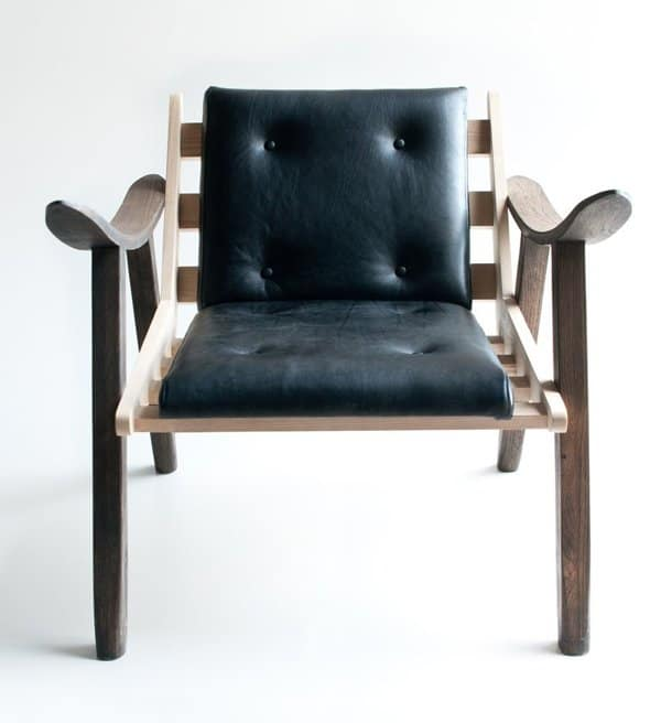 Wood and Leather Upholstered Chair