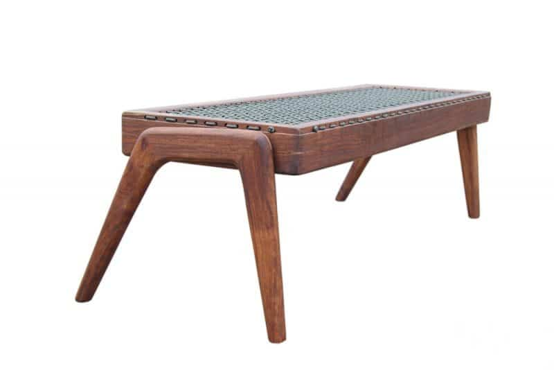 """African Furniture - African Style Wooden Bench with """"Riempies"""" Seat"""