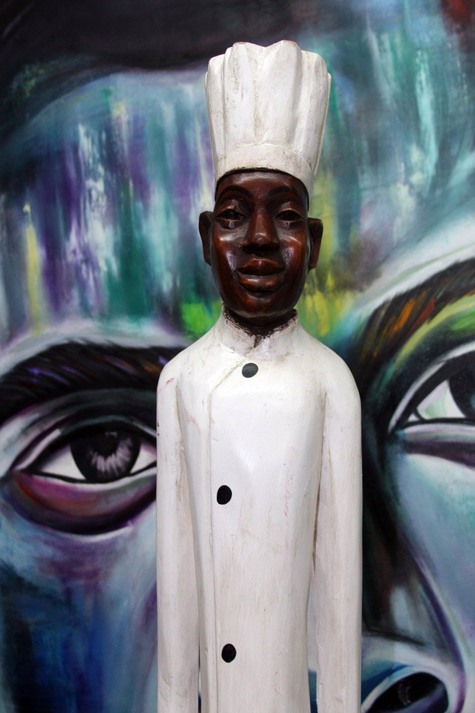 African Colonial Wooden Figure- Chef 1.88M
